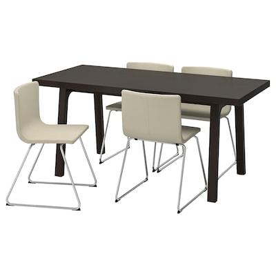 VÄSTANBY/VÄSTANÅ / BERNHARD Stôl a 4 stoličky, tmavohnedá/Kavat biela, 170 cm