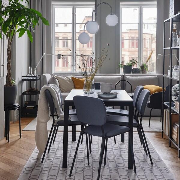 VANGSTA Rozkladací stôl, čierna/tmavohnedá, 120/180x75 cm