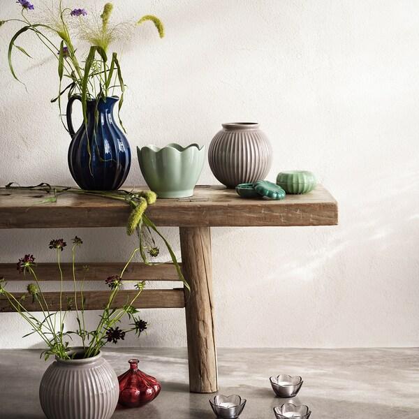 VANLIGEN váza sivá 18 cm 18.5 cm
