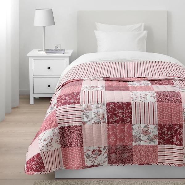 VÅRRUTA posteľná prikrývka biela/ružová 250 cm 180 cm