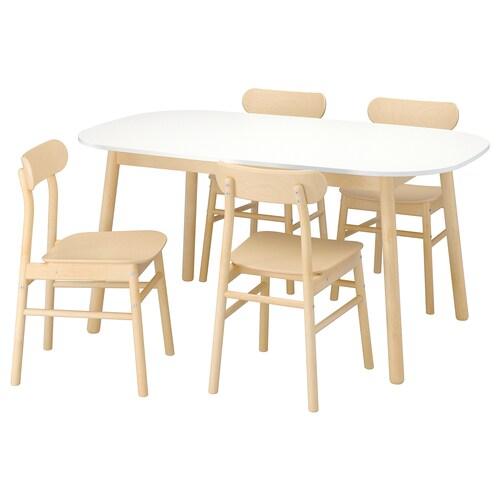 VEDBO / RÖNNINGE stôl a 4 stoličky biela/breza 160 cm 95 cm