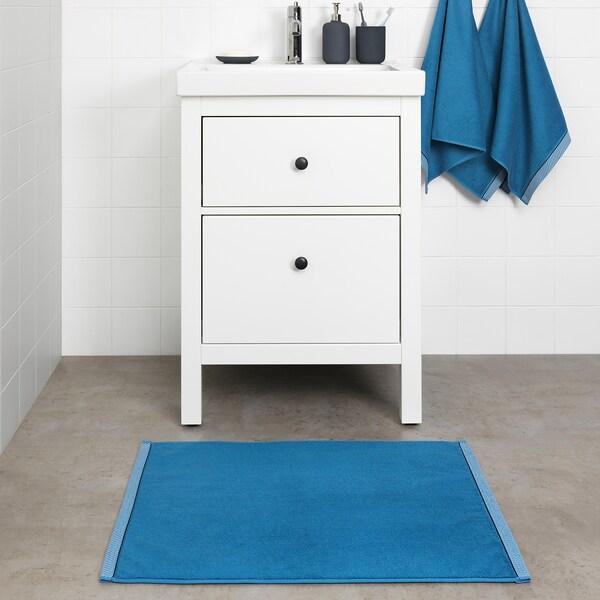 VIKFJÄRD kúpeľňová predlożka modrá 80 cm 50 cm 0.40 m² 1050 g/m²