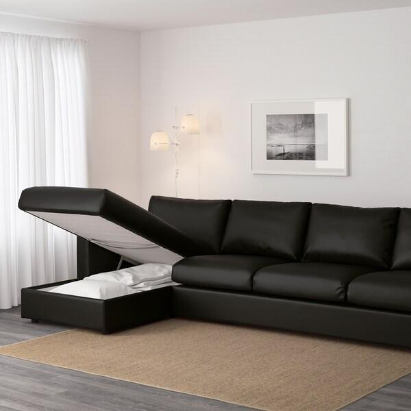 VIMLE 4-pohovka s ležadlom/Farsta čierna 80 cm 164 cm 322 cm 98 cm 125 cm 4 cm 15 cm 65 cm 292 cm 55 cm 45 cm