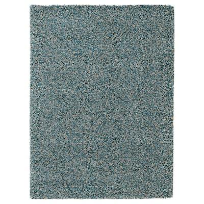 VINDUM Koberec, vysoký vlas, modrá-zelená, 170x230 cm