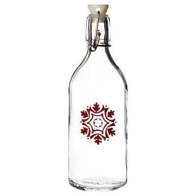VINTER 2020 Fľaša so zátkou, sklo/vzor snehových vločiek červená, 0.5 l