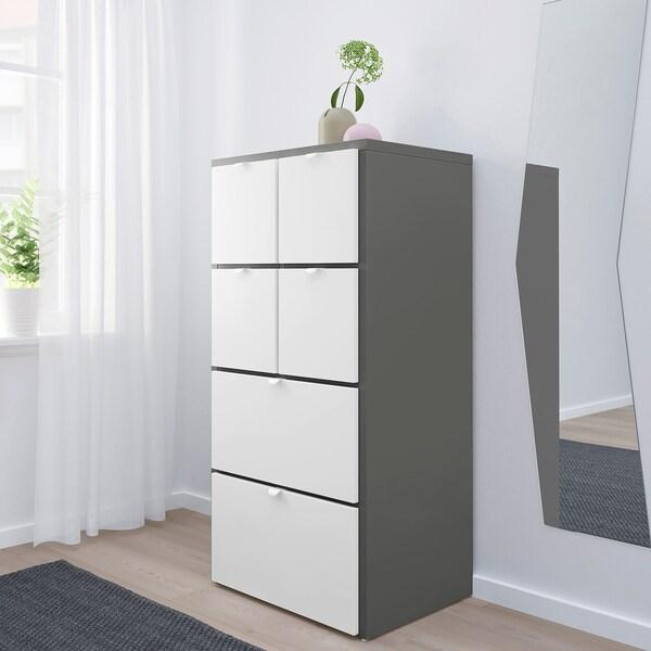 VISTHUS komoda, 6 zásuviek sivá/biela 63 cm 49 cm 126 cm