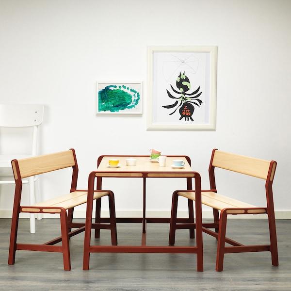YPPERLIG Detský stolík, buk/tmavočervená, 74x62 cm