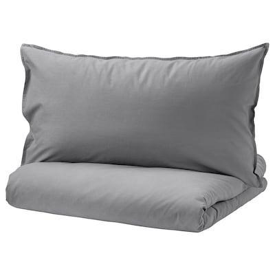 ÄNGSLILJA Quilt cover and 2 pillowcases, grey, 200x200/50x80 cm