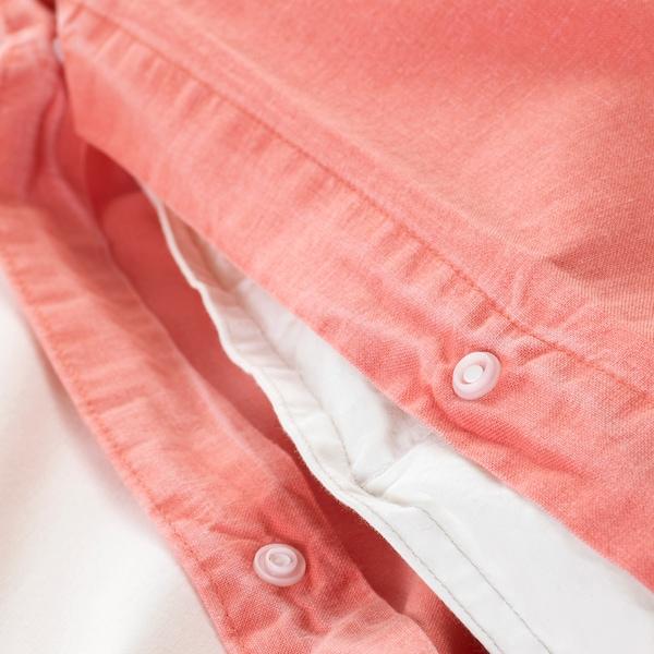 ÄNGSLILJA Quilt cover and 2 pillowcases, light brown-red, 240x220/50x80 cm