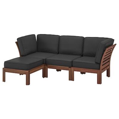 ÄPPLARÖ 3-seat modular sofa, outdoor, with footstool brown stained/Järpön/Duvholmen anthracite, 143/223x80x86 cm