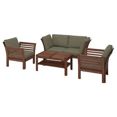 ÄPPLARÖ 4-seat conversation set, outdoor, brown stained/Frösön/Duvholmen dark beige-green