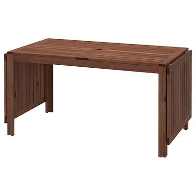 ÄPPLARÖ Drop-leaf table, outdoor, brown stained, 140/200/260x78 cm