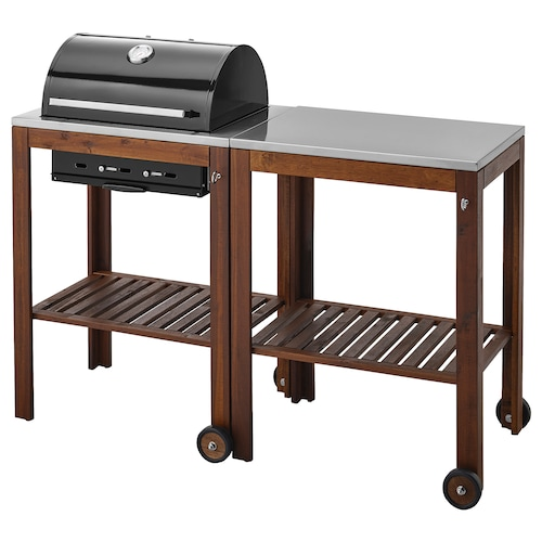ÄPPLARÖ / KLASEN charcoal barbecue with trolley brown stained/stainless steel 147 cm 58 cm 109 cm