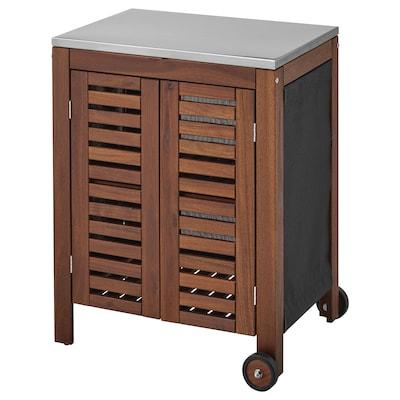 ÄPPLARÖ / KLASEN Storage cabinet, outdoor, brown stained/stainless steel colour, 77x58 cm