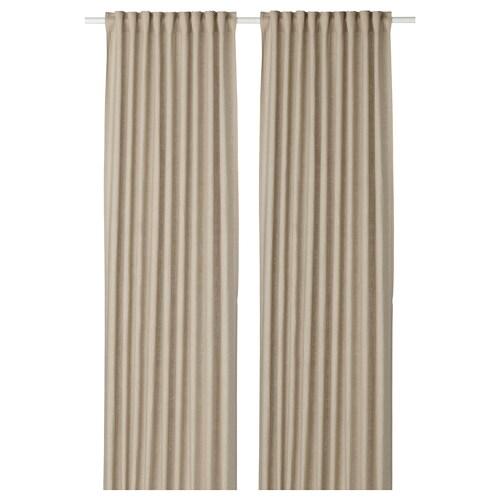 AINA curtains, 1 pair beige 250 cm 145 cm 1.64 kg 3.63 m² 2 pieces