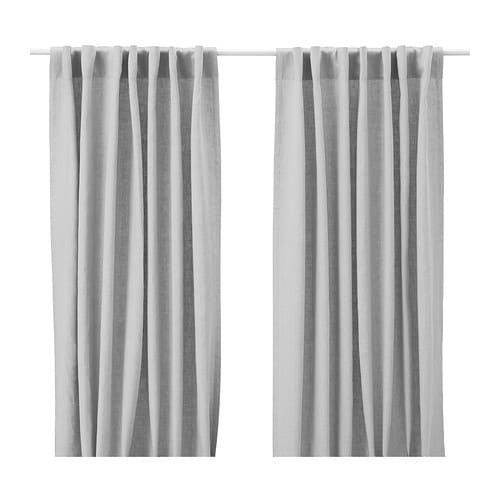 AINA Curtains, 1 pair   Linen gives the fabric a natural, irregular texture and makes it feel firm to the touch.