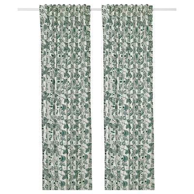 ALPKLÖVER Curtains, 1 pair, white/dark green, 145x250 cm