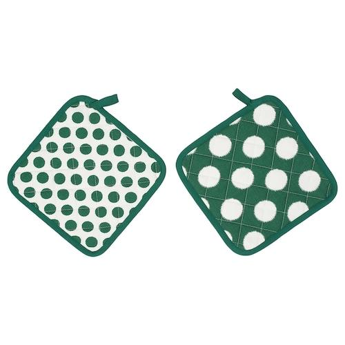 ALVALISA pot holder green/white 23 cm 23 cm 2 pieces