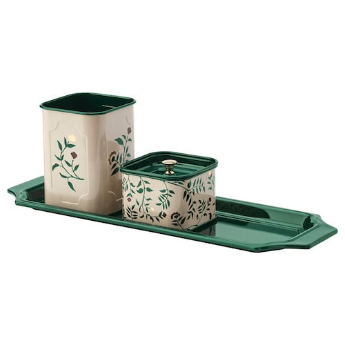 ANILINARE 4-piece desk organiser set beige green/floral patterned metal