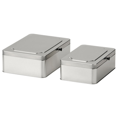 ANILINARE Box with lid, set of 2, metal