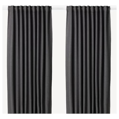 ANNAKAJSA room darkening curtains, 1 pair grey 250 cm 145 cm 3.45 kg 3.63 m² 2 pieces