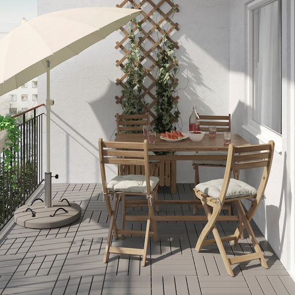ASKHOLMEN Table+4 folding chairs, outdoor, grey-brown stained/Kuddarna grey