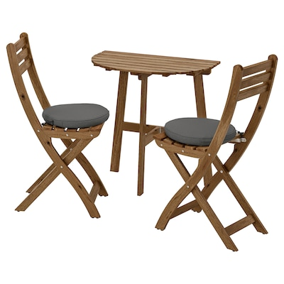 ASKHOLMEN Table f wall+2 fold chairs, outdoor, grey-brown stained/Frösön/Duvholmen dark grey