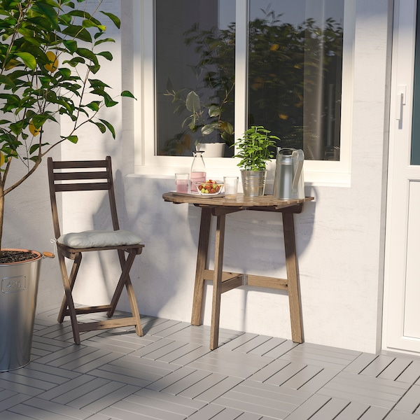 ASKHOLMEN Table for wall+1 fold chr, outdoor, grey-brown stained/Kuddarna beige