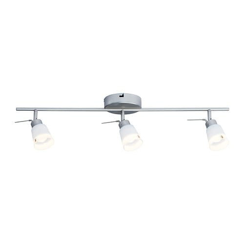 BASISK Ceiling track, 3-spots   Adjustable head for easy directing of light.  Shades of mouth blown glass; each shade is unique.