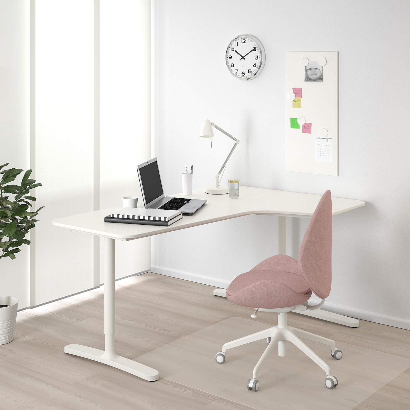 BEKANT Corner desk right, white, 160x110 cm