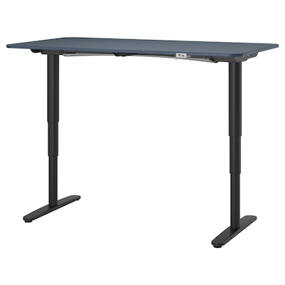 BEKANT Desk sit/stand, linoleum blue/black, 160x80 cm