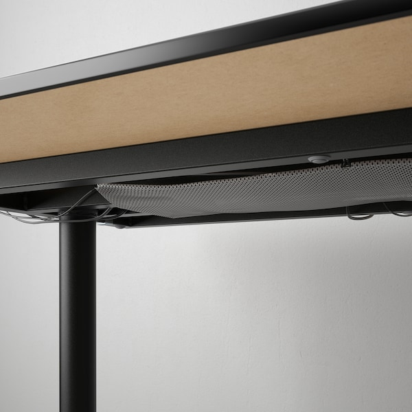 BEKANT Desk with screen, black stained ash veneer/black, 160x160 120 cm
