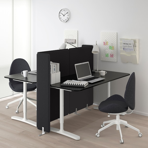 BEKANT Desk with screen, black stained ash veneer/white, 160x160 120 cm