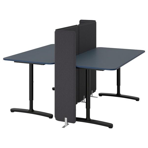 BEKANT Desk with screen, linoleum blue/black, 160x160 120 cm