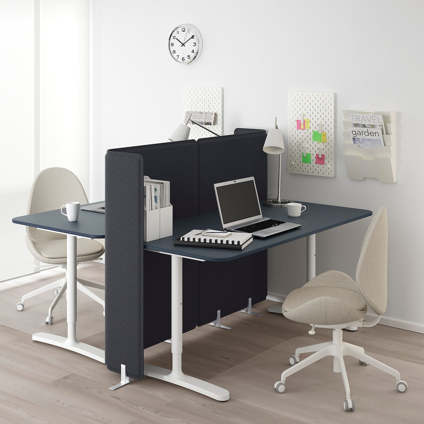 BEKANT Desk with screen, linoleum blue/white, 160x160 120 cm