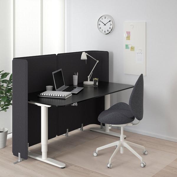 BEKANT Reception desk sit/stand, black stained ash veneer/white, 160x80 120 cm