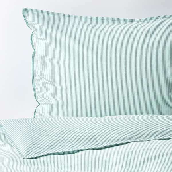 BERGPALM quilt cover and 2 pillowcases white/green/stripe 118 /inch² 2 pieces 220 cm 240 cm 50 cm 80 cm