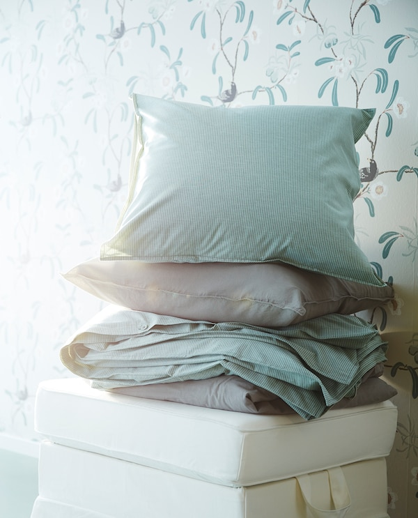 BERGPALM quilt cover and pillowcase white/green/stripe 118 /inch² 1 pieces 200 cm 150 cm 50 cm 80 cm