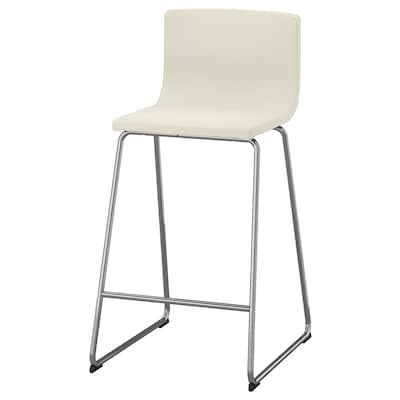 BERNHARD Bar stool with backrest, chrome-plated/Mjuk white, 66 cm