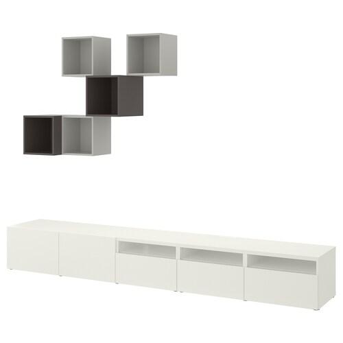 BESTÅ / EKET cabinet combination for TV white/light grey/dark grey 300 cm 42 cm 210 cm