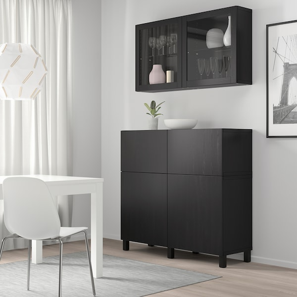 BESTÅ Storage combination w doors/drawers, black-brown/Lappviken/Stubbarp black-brown clear glass, 120x42x240 cm