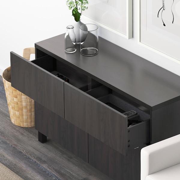 BESTÅ Storage combination w doors/drawers, Lappviken black-brown, 120x40x74 cm