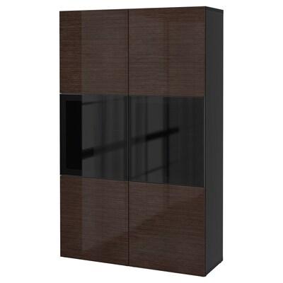 BESTÅ Storage combination w glass doors, black-brown/Selsviken high-gloss/brown smoked glass, 120x42x193 cm