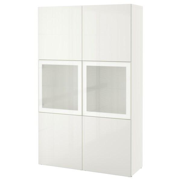 BESTÅ Storage combination w glass doors, white/Selsviken high-gloss/white frosted glass, 120x42x193 cm