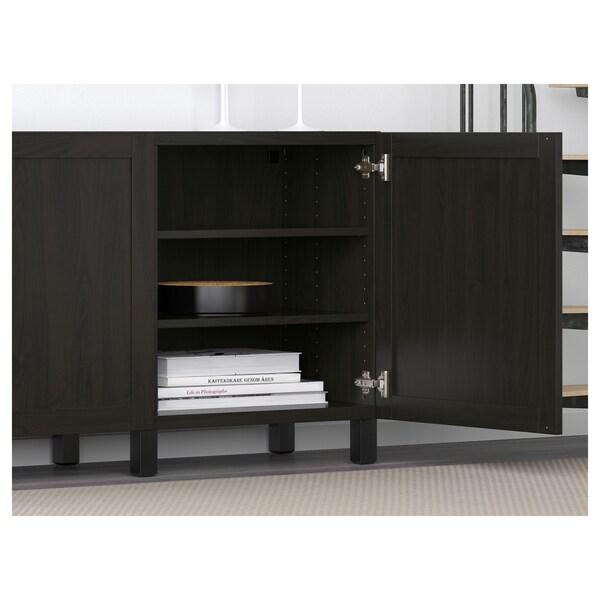 BESTÅ Storage combination with doors, black-brown/Hanviken/Stubbarp black-brown, 180x42x74 cm