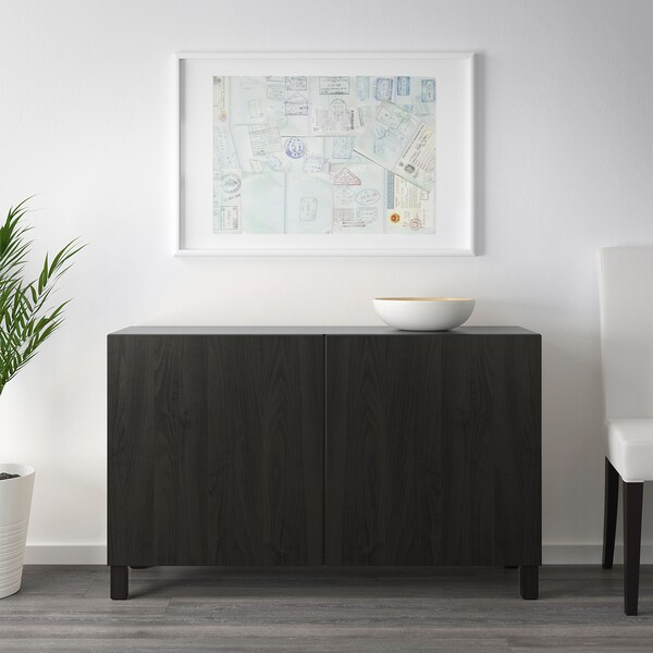 BESTÅ Storage combination with doors, black-brown/Lappviken/Stubbarp black-brown, 120x42x74 cm