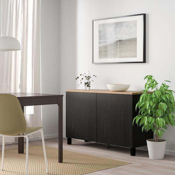 BESTÅ Storage combination with doors, black-brown/Lappviken/Stubbarp black-brown, 120x42x76 cm