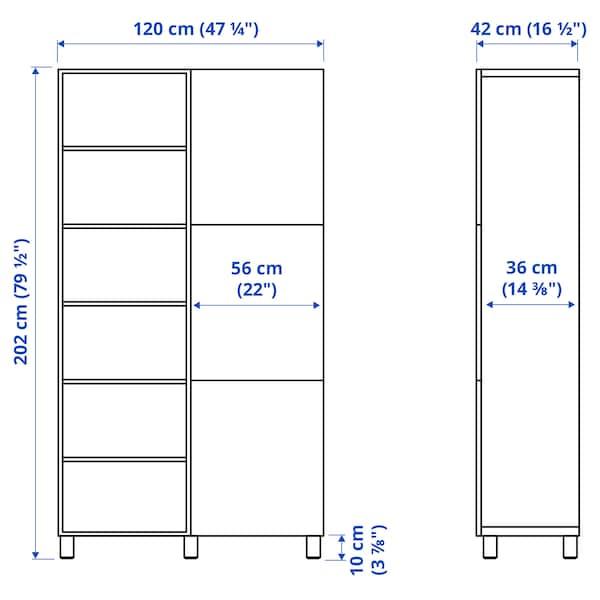 BESTÅ Storage combination with doors, black-brown/Lappviken/Stubbarp black-brown, 120x42x202 cm