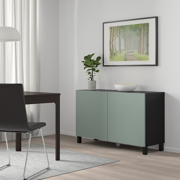 BESTÅ Storage combination with doors, black-brown/Notviken/Stubbarp grey-green, 120x42x74 cm