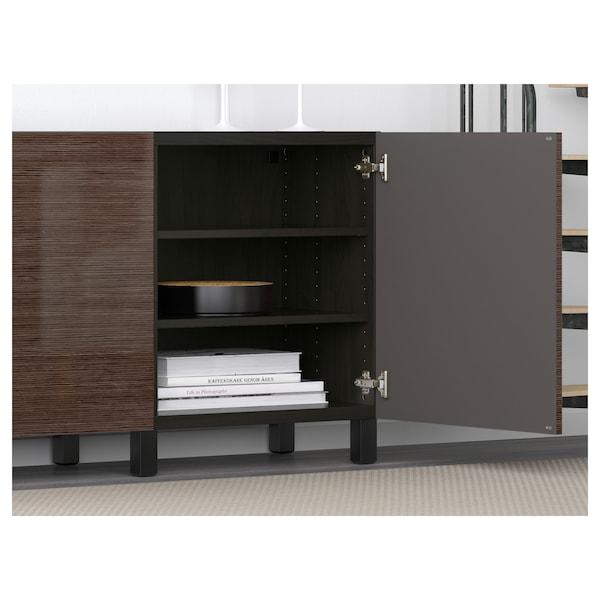 BESTÅ Storage combination with doors, black-brown/Selsviken/Stubbarp high-gloss/brown, 180x42x74 cm